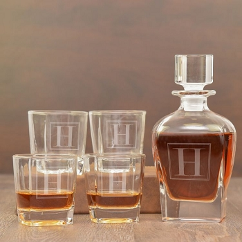 Monogram Whiskey Decanter Set