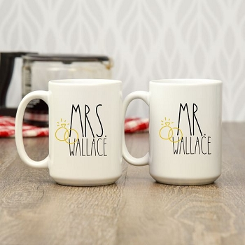 Mr. and Mrs. Personalized Coffee Mugs