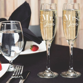 Mr. & Mrs. Champagne Flutes