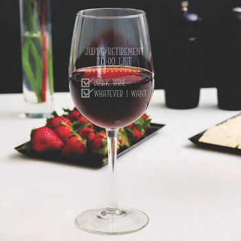 Retiree's To-Do List Wine Glass