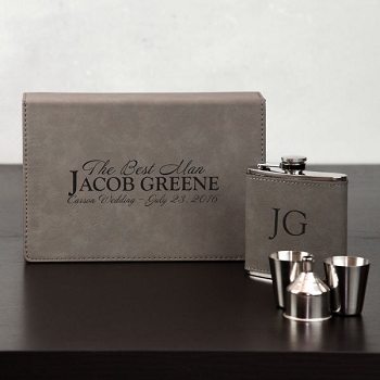 Personalized Groomsmen Flask Set