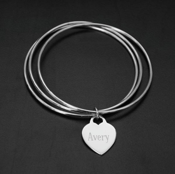 Sterling Silver Bangle Bracelet with Name