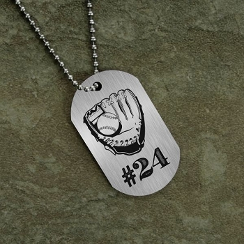 Jersey Number Baseball Dog Tag