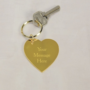 Personalized Brass Heart Key Chain