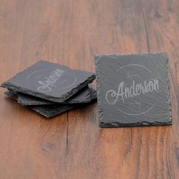 Personalized Slate Coaster Set