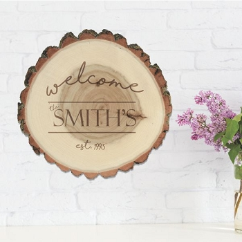 Welcome Rustic Log Sign