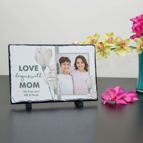 Love Begins with Mom Plaque