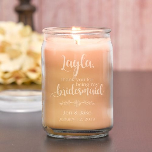 Thank You Bridesmaid Personalized Candle