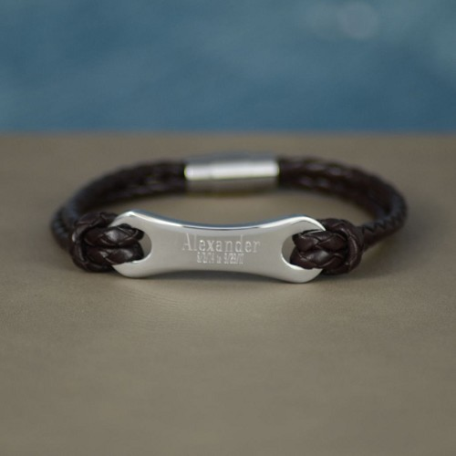 Personalized Sterling Silver & Leather Memory Bracelet