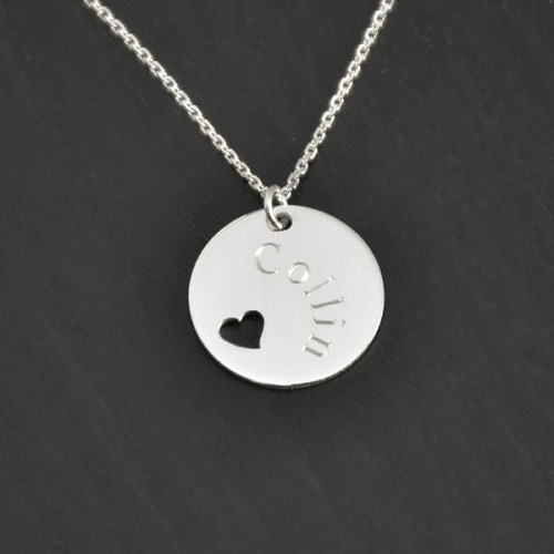 Sterling Silver Pierced Heart Disc Pendant