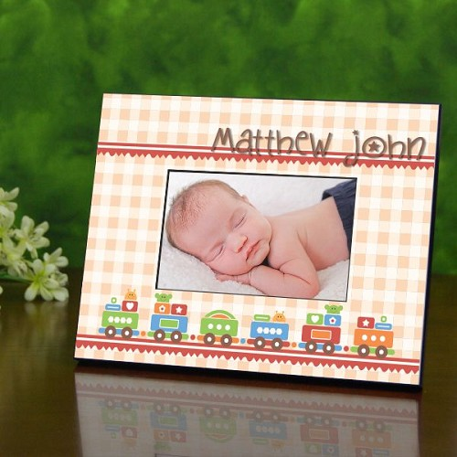 Baby Boy Gingham Pattern Personalized Frame