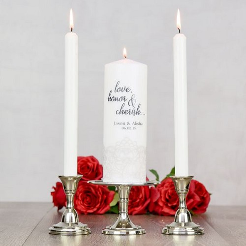 Love Honor Cherish Unity Candle